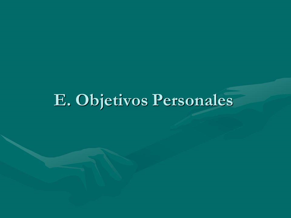 E. Objetivos Personales