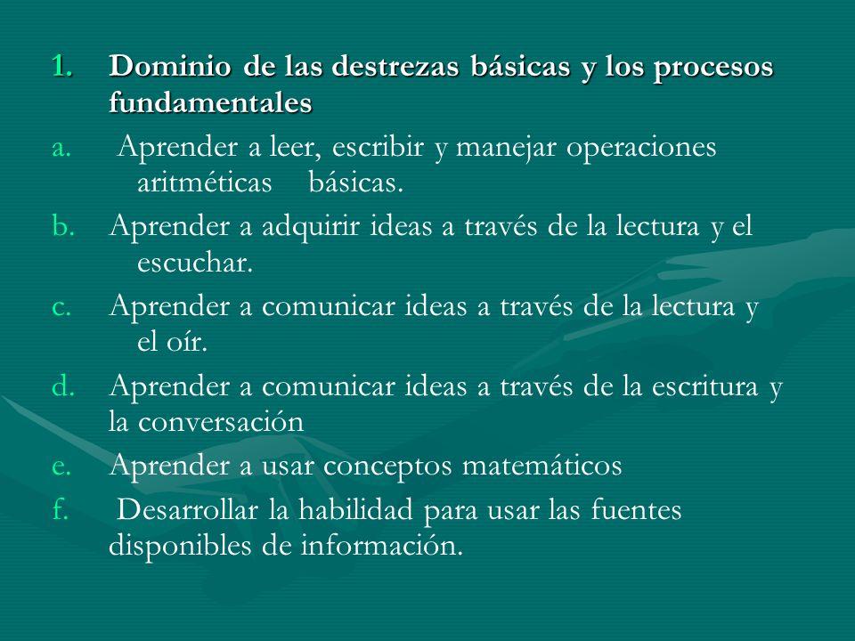 1.D ominio de las destrezas básicas y los procesos fundamentales a.