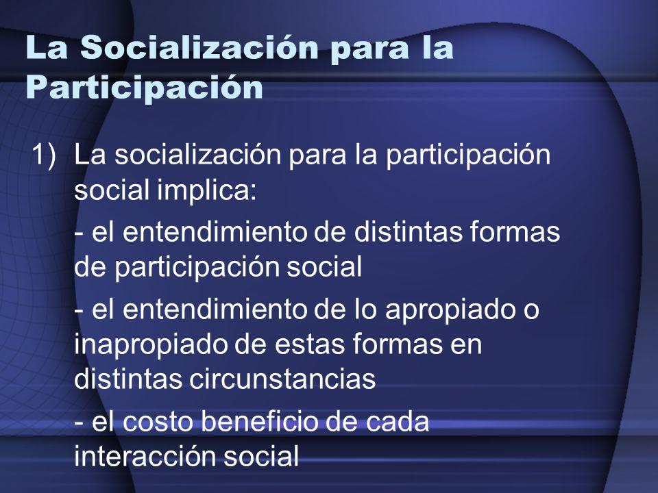 La Socialización para la Participación 1)La socialización para la participación social implica: - el entendimiento de distintas formas de participació