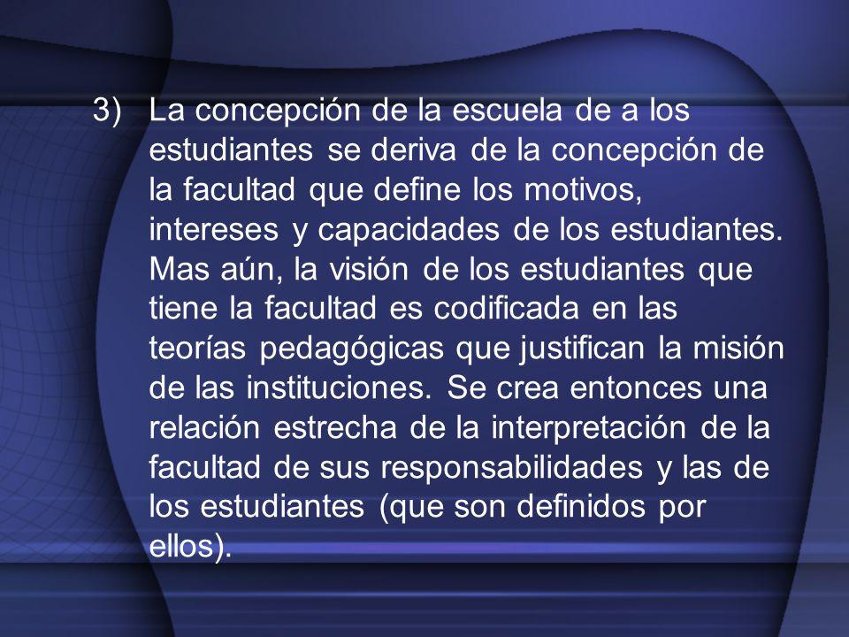 3)La concepción de la escuela de a los estudiantes se deriva de la concepción de la facultad que define los motivos, intereses y capacidades de los es