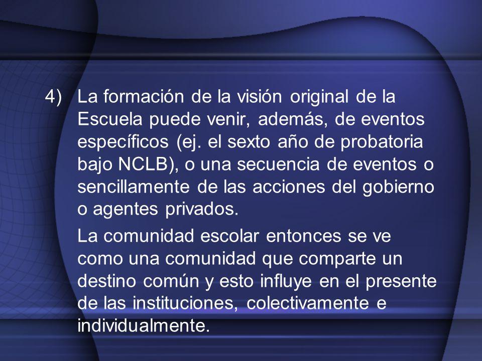 4)La formación de la visión original de la Escuela puede venir, además, de eventos específicos (ej. el sexto año de probatoria bajo NCLB), o una secue