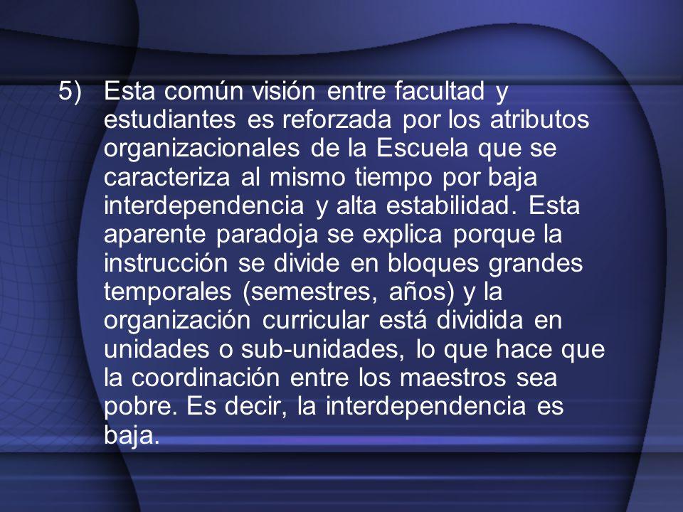 5)Esta común visión entre facultad y estudiantes es reforzada por los atributos organizacionales de la Escuela que se caracteriza al mismo tiempo por