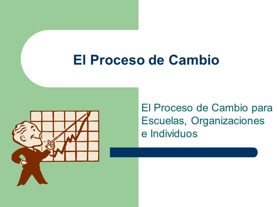 El Proceso de Cambio El Proceso de Cambio para Escuelas, Organizaciones e Individuos