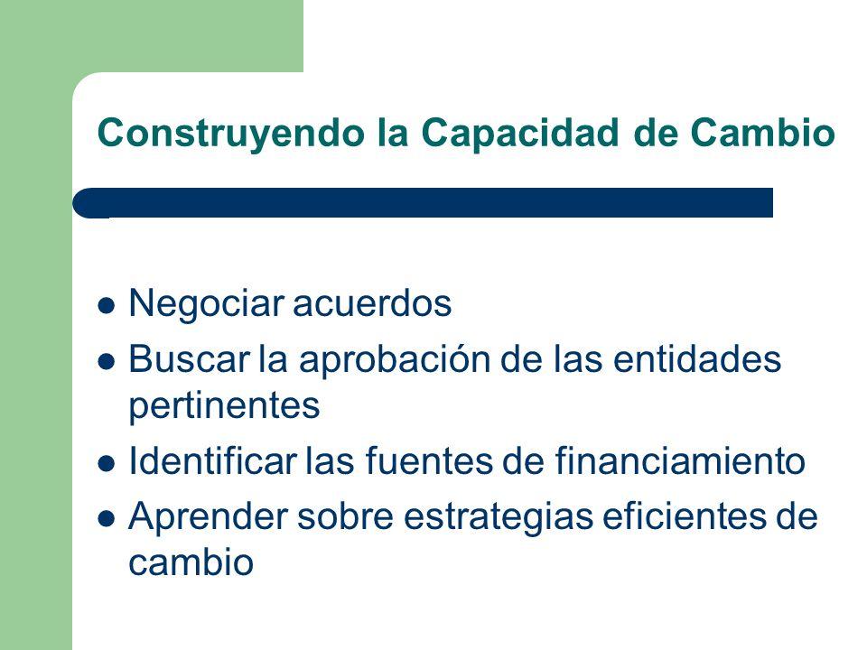 Construyendo la Capacidad de Cambio Negociar acuerdos Buscar la aprobación de las entidades pertinentes Identificar las fuentes de financiamiento Aprender sobre estrategias eficientes de cambio