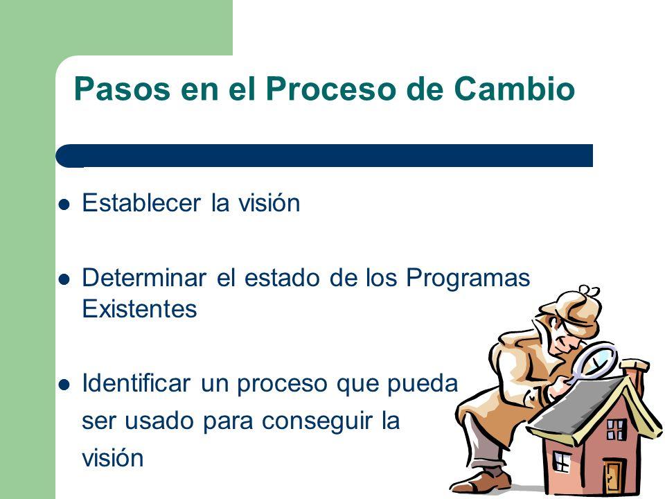 Pasos en el Proceso de Cambio Establecer la visión Determinar el estado de los Programas Existentes Identificar un proceso que pueda ser usado para conseguir la visión