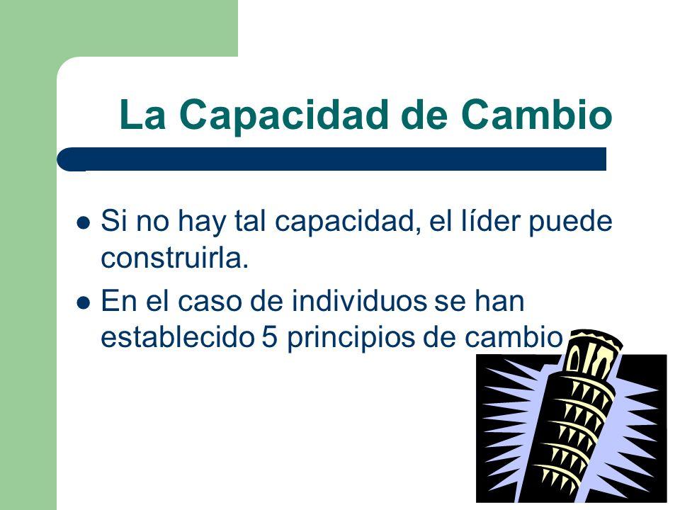 La Capacidad de Cambio Si no hay tal capacidad, el líder puede construirla. En el caso de individuos se han establecido 5 principios de cambio