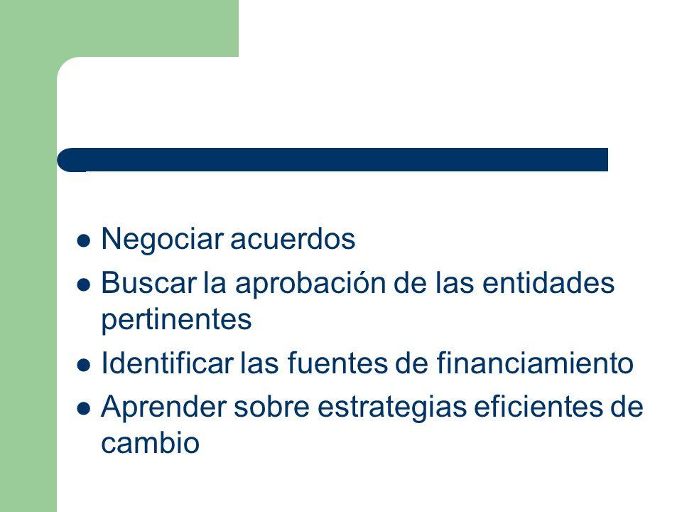 Negociar acuerdos Buscar la aprobación de las entidades pertinentes Identificar las fuentes de financiamiento Aprender sobre estrategias eficientes de