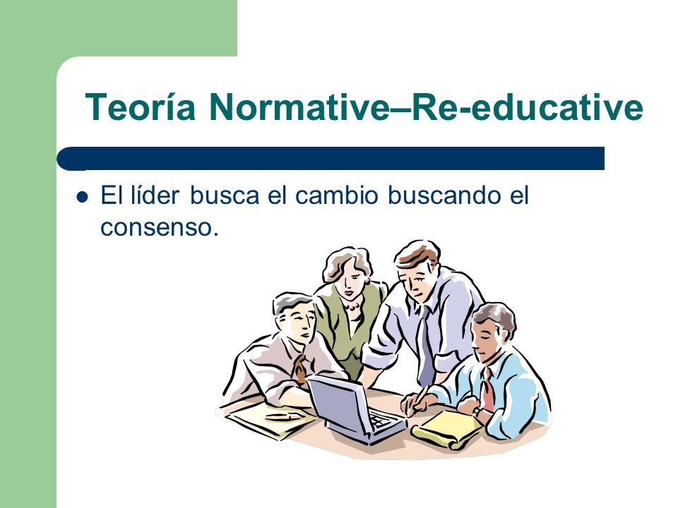 Teoría Normative–Re-educative El líder busca el cambio buscando el consenso.