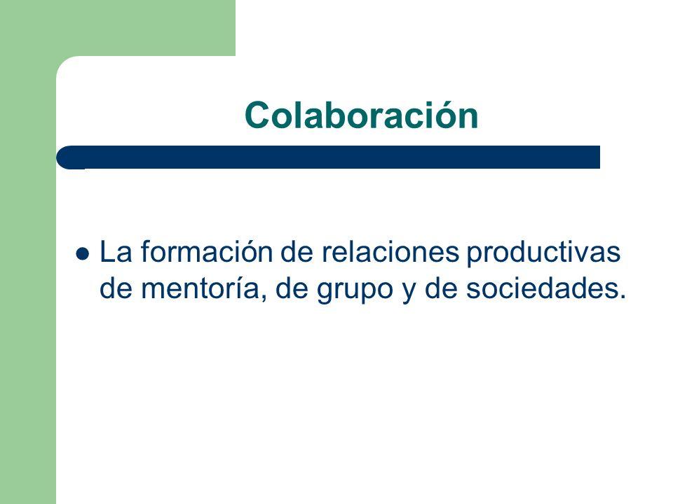 Colaboración La formación de relaciones productivas de mentoría, de grupo y de sociedades.