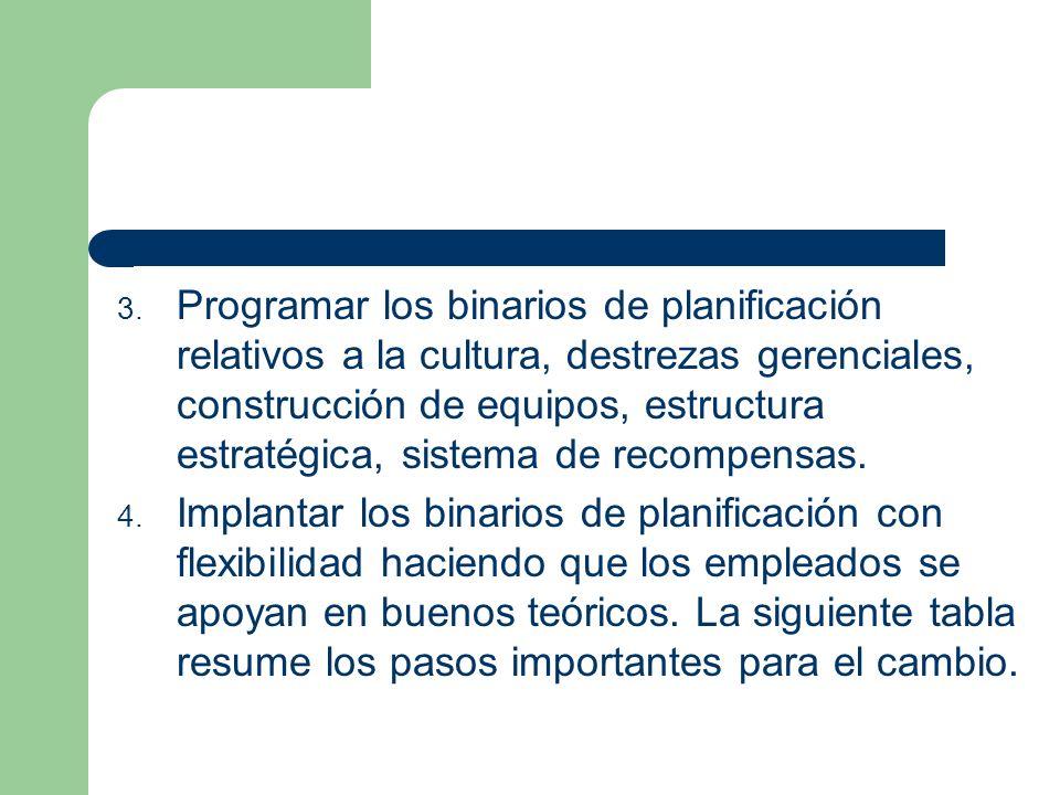 3. Programar los binarios de planificación relativos a la cultura, destrezas gerenciales, construcción de equipos, estructura estratégica, sistema de
