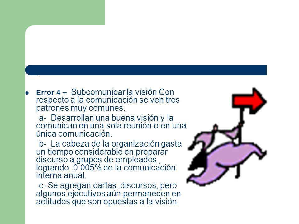 Error 4 – Subcomunicar la visión Con respecto a la comunicación se ven tres patrones muy comunes. a- Desarrollan una buena visión y la comunican en un