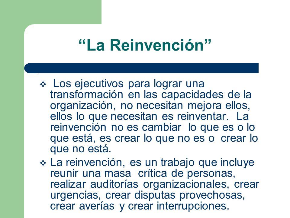 La Reinvención Los ejecutivos para lograr una transformación en las capacidades de la organización, no necesitan mejora ellos, ellos lo que necesitan