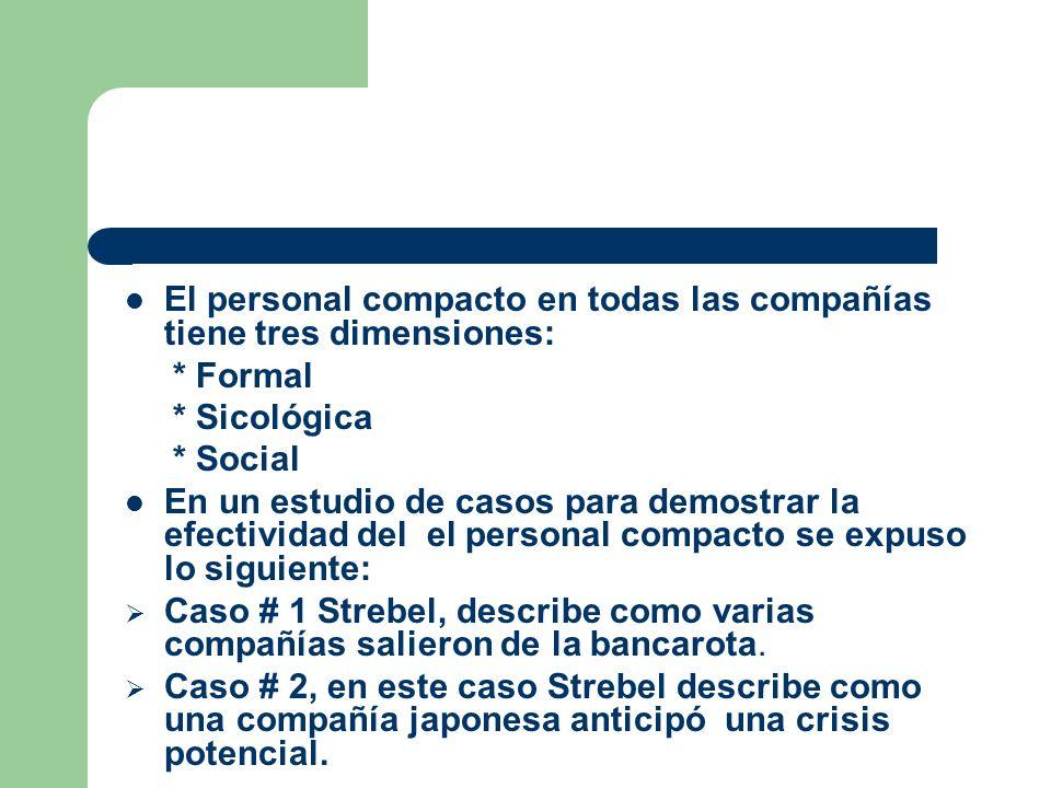 El personal compacto en todas las compañías tiene tres dimensiones: * Formal * Sicológica * Social En un estudio de casos para demostrar la efectivida