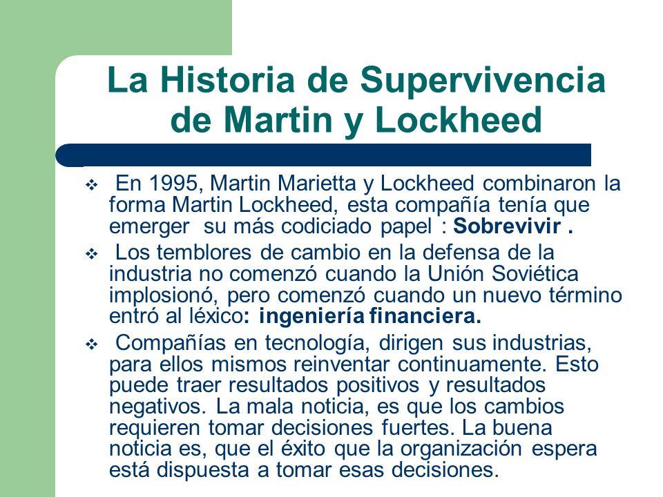 La Historia de Supervivencia de Martin y Lockheed En 1995, Martin Marietta y Lockheed combinaron la forma Martin Lockheed, esta compañía tenía que eme