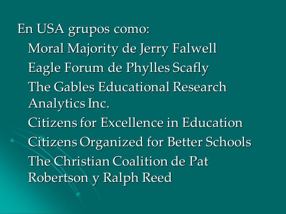 En USA grupos como: Moral Majority de Jerry Falwell Eagle Forum de Phylles Scafly The Gables Educational Research Analytics Inc. Citizens for Excellen