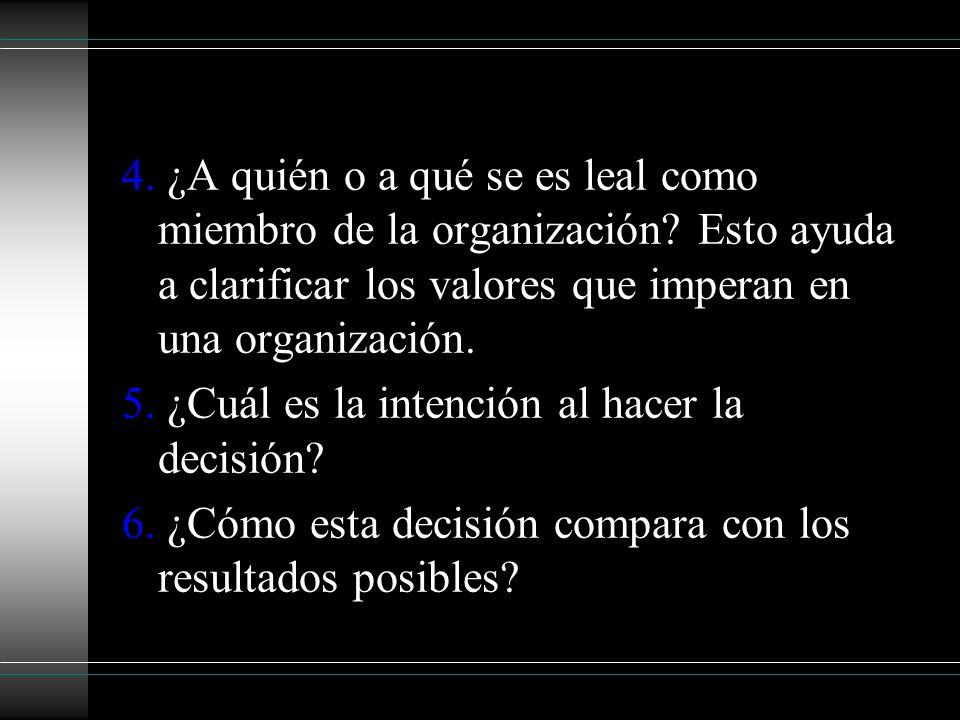 4. ¿A quién o a qué se es leal como miembro de la organización? Esto ayuda a clarificar los valores que imperan en una organización. 5. ¿Cuál es la in