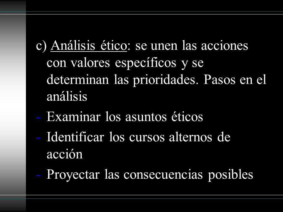 c) Análisis ético: se unen las acciones con valores específicos y se determinan las prioridades. Pasos en el análisis -Examinar los asuntos éticos -Id