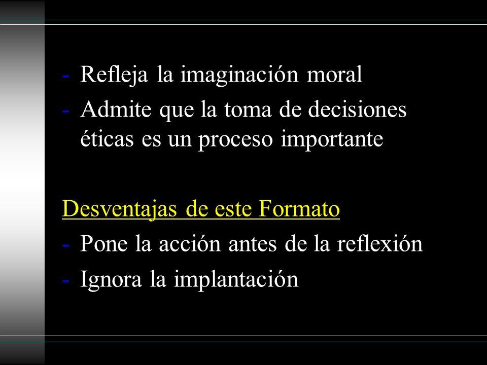 -Refleja la imaginación moral -Admite que la toma de decisiones éticas es un proceso importante Desventajas de este Formato -Pone la acción antes de l