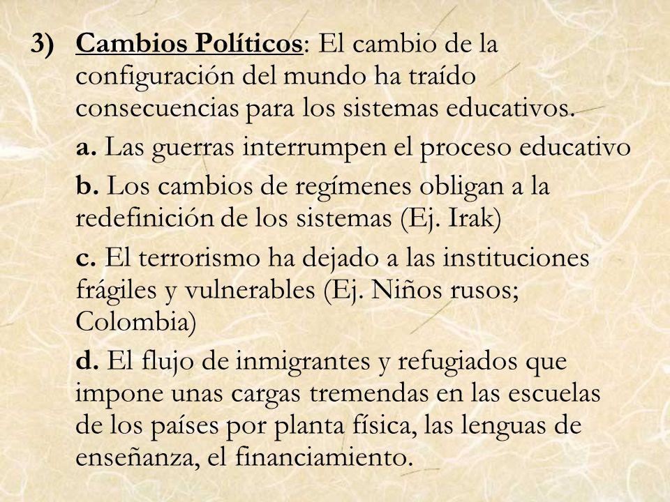 3)Cambios Políticos: El cambio de la configuración del mundo ha traído consecuencias para los sistemas educativos. a. Las guerras interrumpen el proce