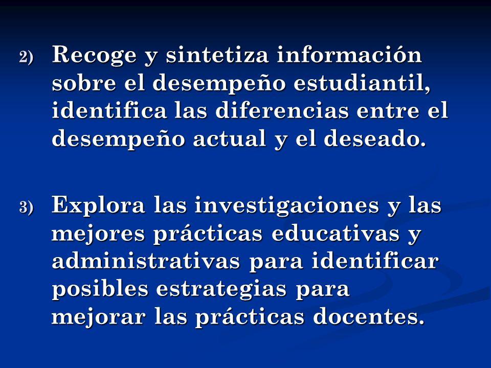 2) R ecoge y sintetiza información sobre el desempeño estudiantil, identifica las diferencias entre el desempeño actual y el deseado. 3) E xplora las