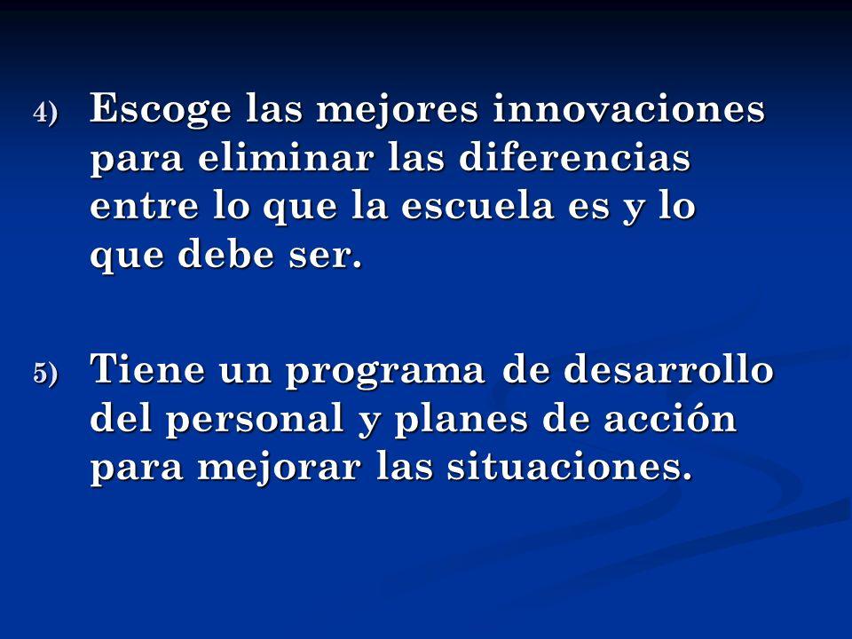 4) Escoge las mejores innovaciones para eliminar las diferencias entre lo que la escuela es y lo que debe ser. 5) Tiene un programa de desarrollo del