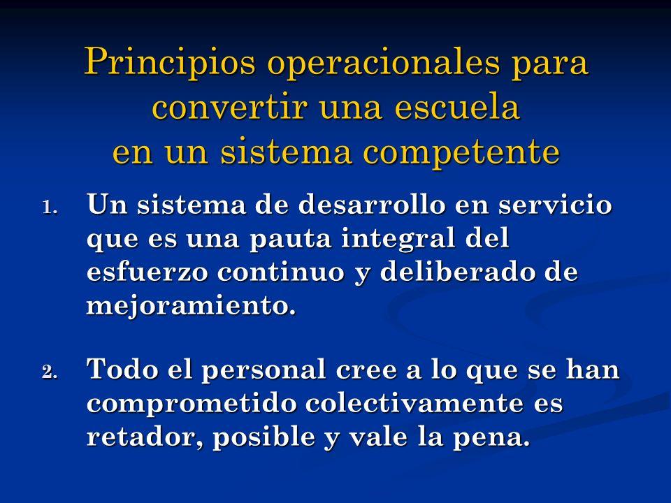 Principios operacionales para convertir una escuela en un sistema competente 1. Un sistema de desarrollo en servicio que es una pauta integral del esf