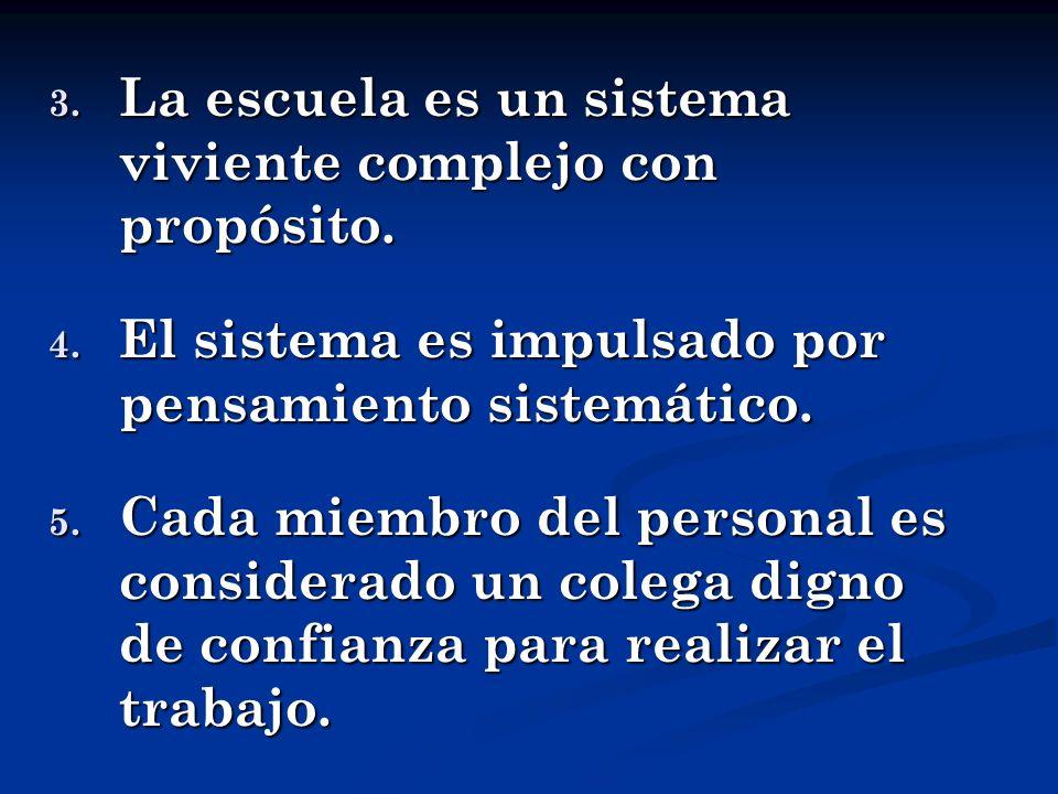 3. La escuela es un sistema viviente complejo con propósito. 4. El sistema es impulsado por pensamiento sistemático. 5. Cada miembro del personal es c