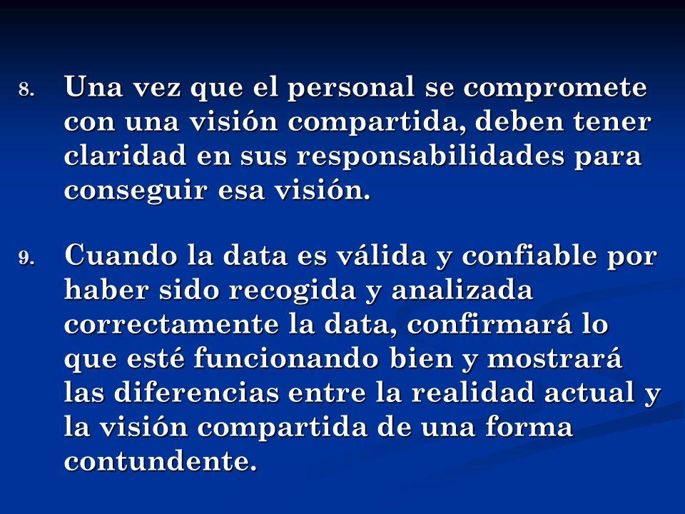 8. Una vez que el personal se compromete con una visión compartida, deben tener claridad en sus responsabilidades para conseguir esa visión. 9. Cuando