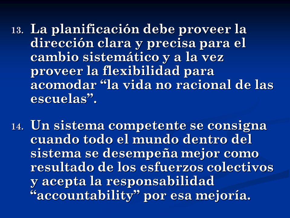 13. La planificación debe proveer la dirección clara y precisa para el cambio sistemático y a la vez proveer la flexibilidad para acomodar la vida no