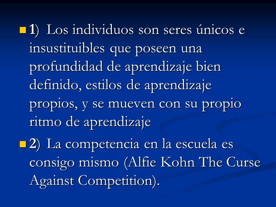 4) Desarrollo de una autoestima alta en el estudiante al no ponerlo a competir con los demás, sino consigo mismo.