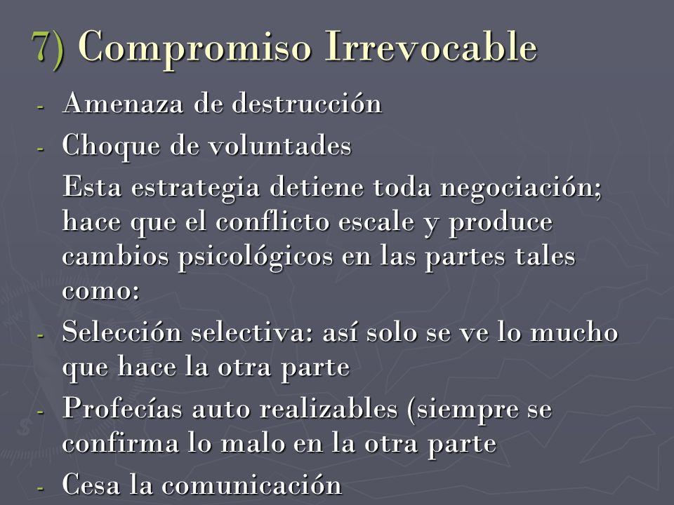 7) Compromiso Irrevocable - Amenaza de destrucción - Choque de voluntades Esta estrategia detiene toda negociación; hace que el conflicto escale y pro