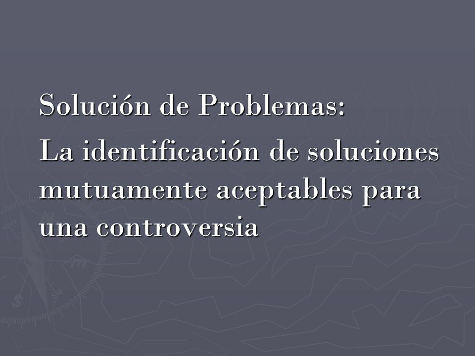 Solución de Problemas: La identificación de soluciones mutuamente aceptables para una controversia