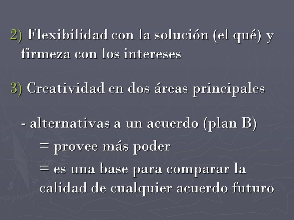 2) Flexibilidad con la solución (el qué) y firmeza con los intereses 3) Creatividad en dos áreas principales - alternativas a un acuerdo (plan B) = pr