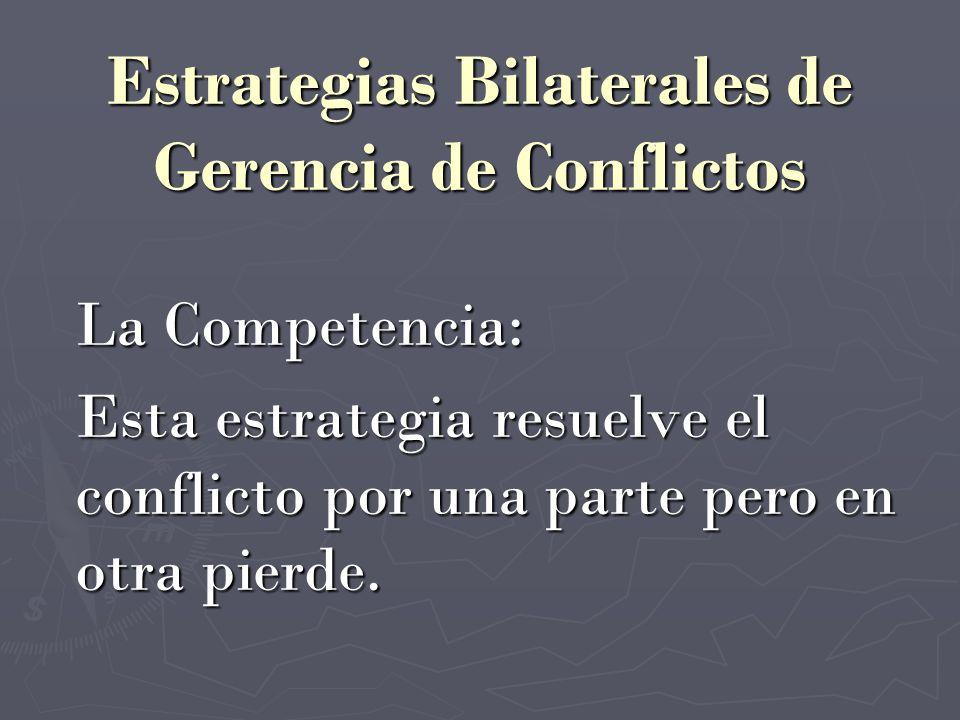 La Competencia: Esta estrategia resuelve el conflicto por una parte pero en otra pierde.