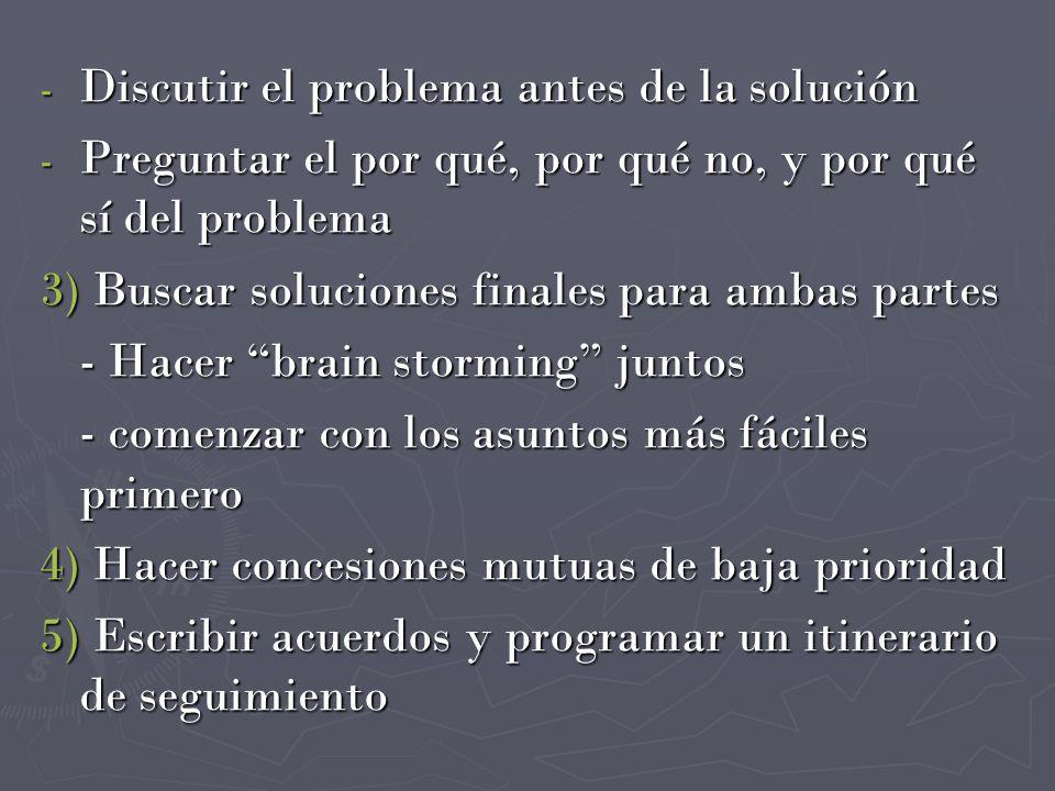 - Discutir el problema antes de la solución - Preguntar el por qué, por qué no, y por qué sí del problema 3) Buscar soluciones finales para ambas part