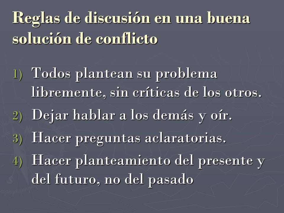 Reglas de discusión en una buena solución de conflicto 1) Todos plantean su problema libremente, sin críticas de los otros. 2) Dejar hablar a los demá