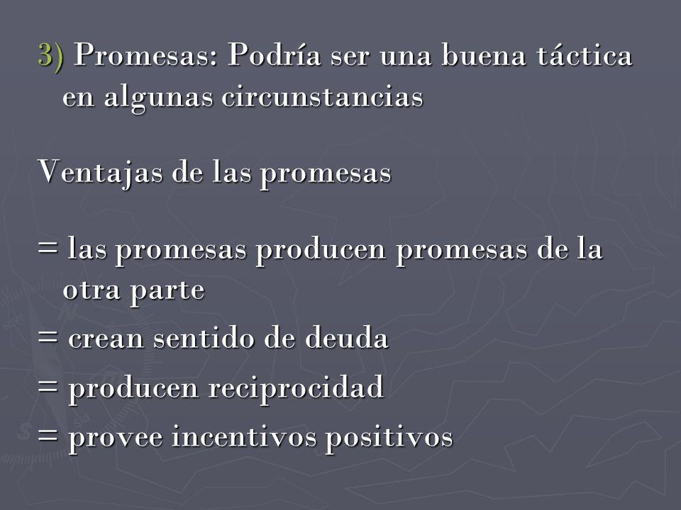 Desventajas de las Promesas = cuestan si se cumplen = pierden efectividad a lo largo = crean sentido de dependencia = cuesta mucho romperlas = crean grandes expectativas = si se rompen actúan en contra de quien lo haga = es difícil saber cuánto prometer