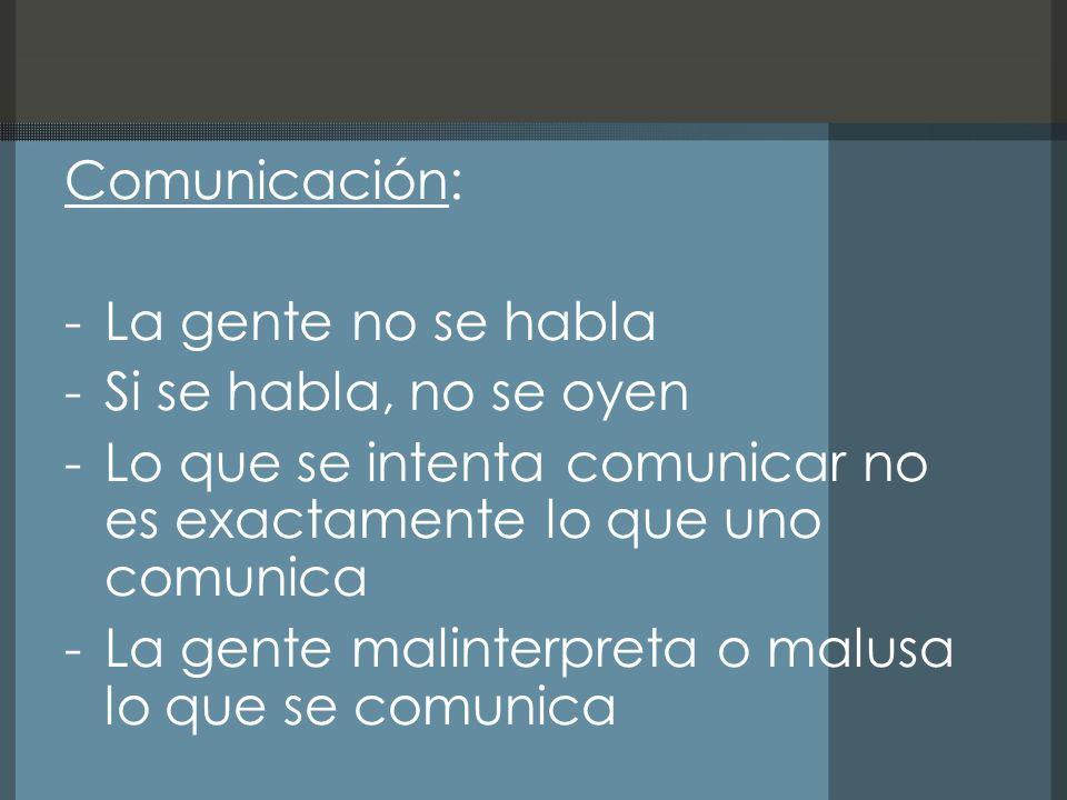 Comunicación: -La gente no se habla -Si se habla, no se oyen -Lo que se intenta comunicar no es exactamente lo que uno comunica -La gente malinterpreta o malusa lo que se comunica