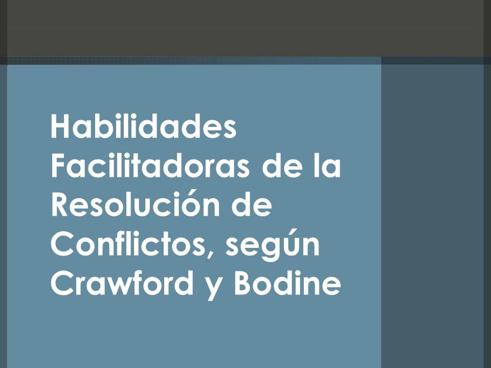 Habilidades Facilitadoras de la Resolución de Conflictos, según Crawford y Bodine