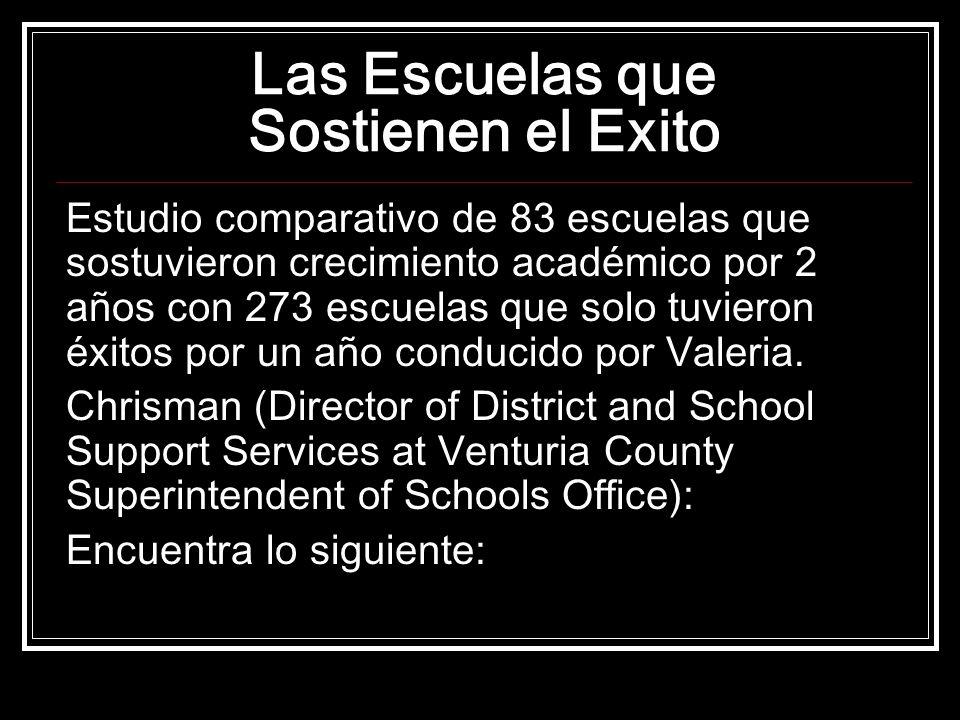 Las Escuelas que Sostienen el Exito Estudio comparativo de 83 escuelas que sostuvieron crecimiento académico por 2 años con 273 escuelas que solo tuvieron éxitos por un año conducido por Valeria.