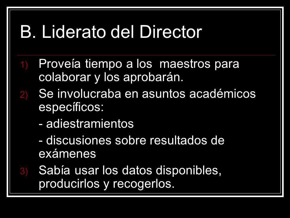 B. Liderato del Director Proveía tiempo a los maestros para colaborar y los aprobarán.