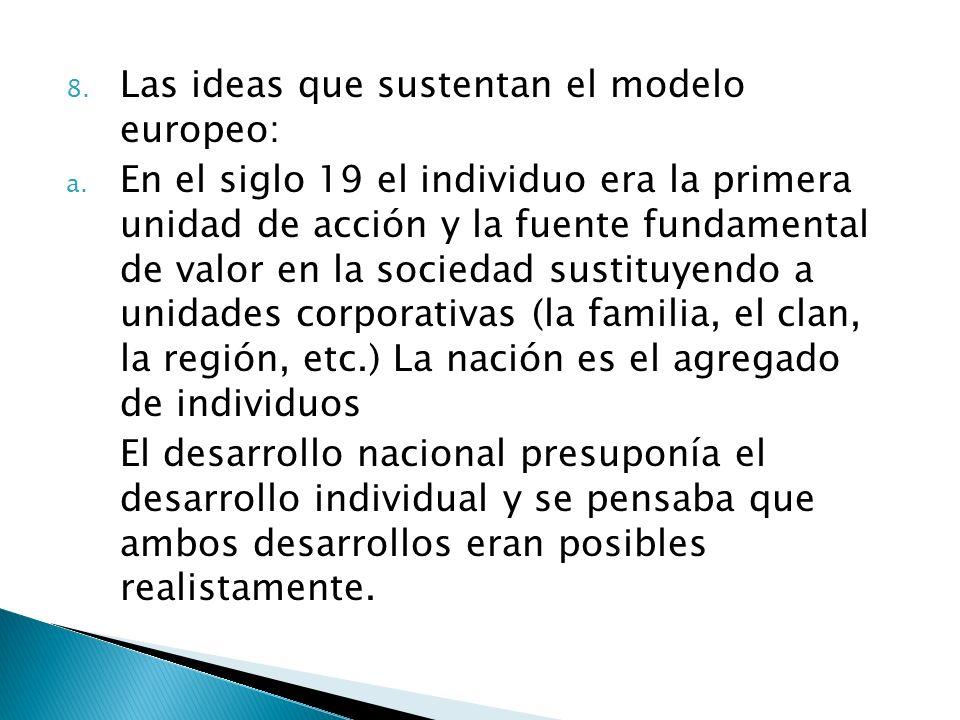 8. Las ideas que sustentan el modelo europeo: a. En el siglo 19 el individuo era la primera unidad de acción y la fuente fundamental de valor en la so