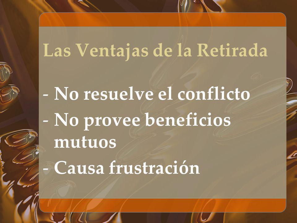 Las Ventajas de la Retirada -No resuelve el conflicto -No provee beneficios mutuos -Causa frustración