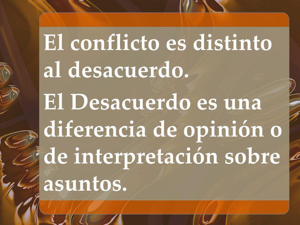 El conflicto es distinto al desacuerdo. El Desacuerdo es una diferencia de opinión o de interpretación sobre asuntos.