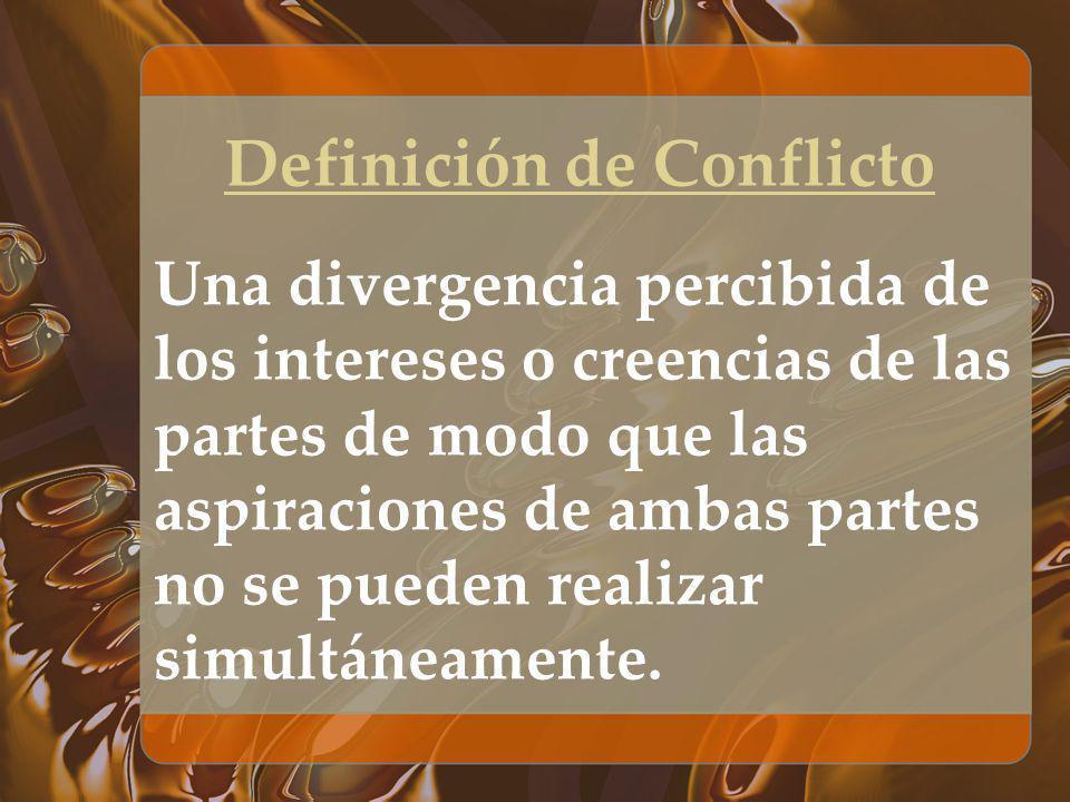 Definición de Conflicto Una divergencia percibida de los intereses o creencias de las partes de modo que las aspiraciones de ambas partes no se pueden