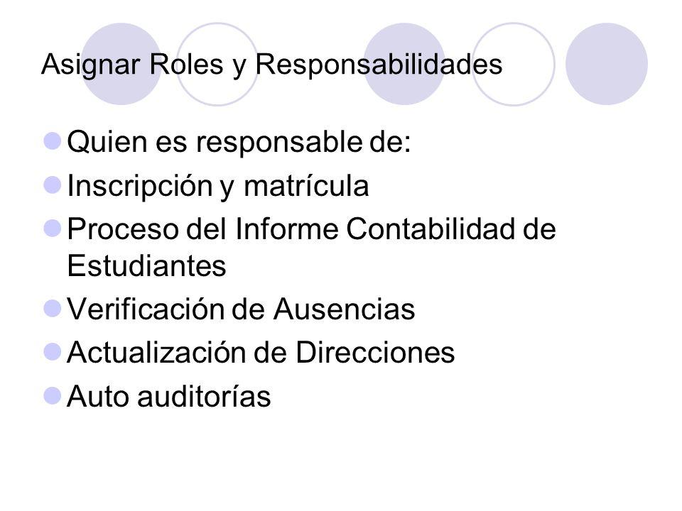 Asignar Roles y Responsabilidades Quien es responsable de: Inscripción y matrícula Proceso del Informe Contabilidad de Estudiantes Verificación de Ausencias Actualización de Direcciones Auto auditorías