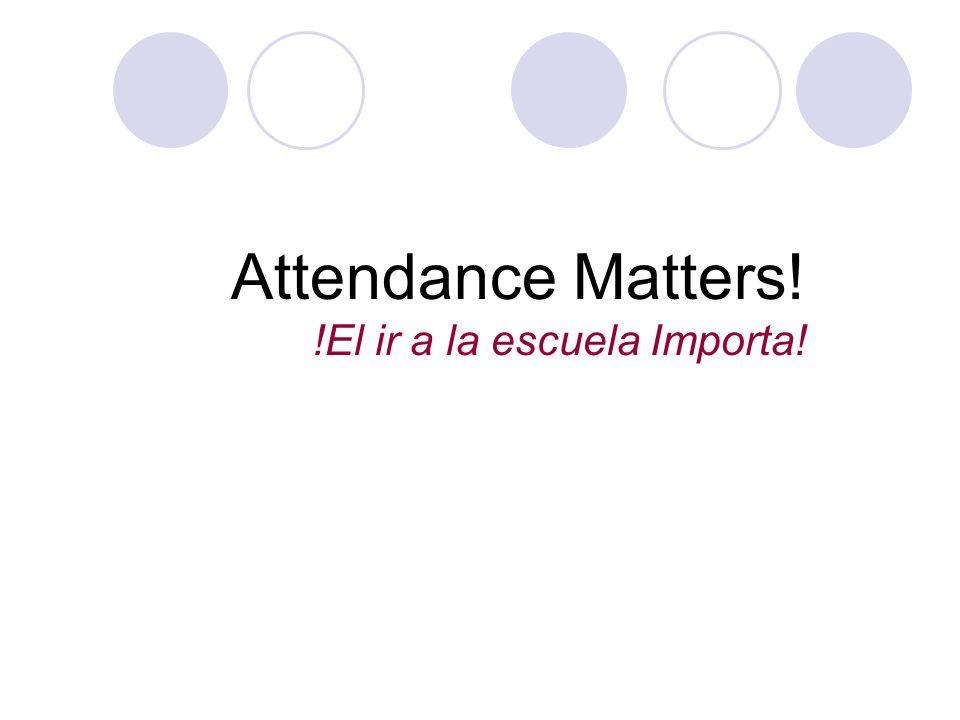 Attendance Matters! !El ir a la escuela Importa!