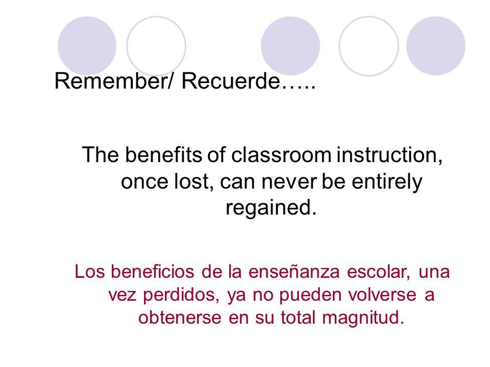 Remember/ Recuerde….. The benefits of classroom instruction, once lost, can never be entirely regained. Los beneficios de la enseñanza escolar, una ve