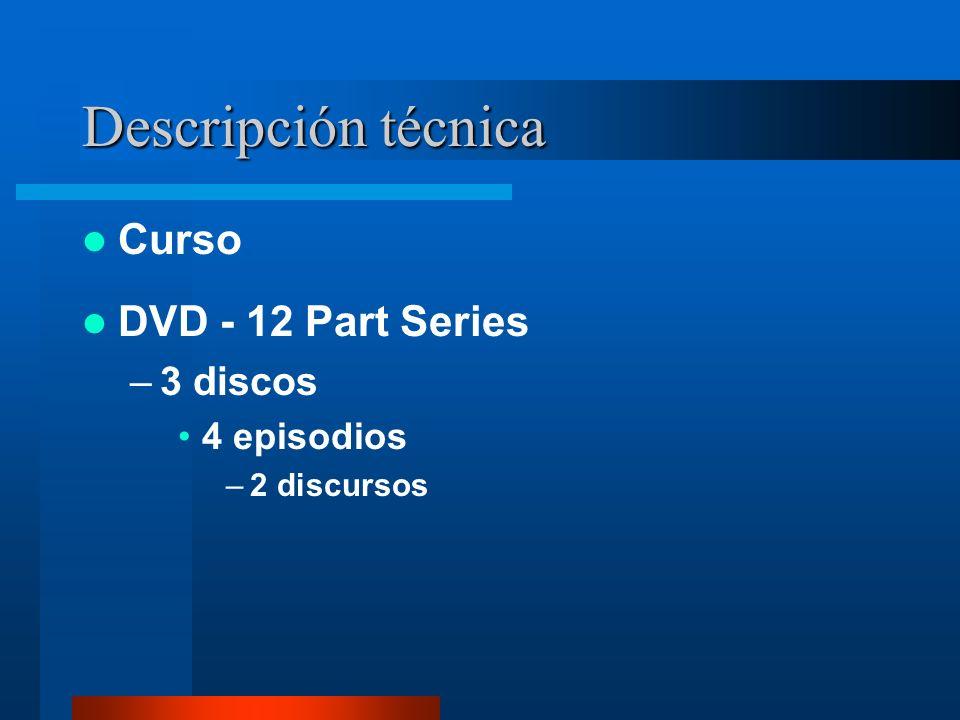Descripción técnica Curso DVD - 12 Part Series –3 discos 4 episodios –2 discursos