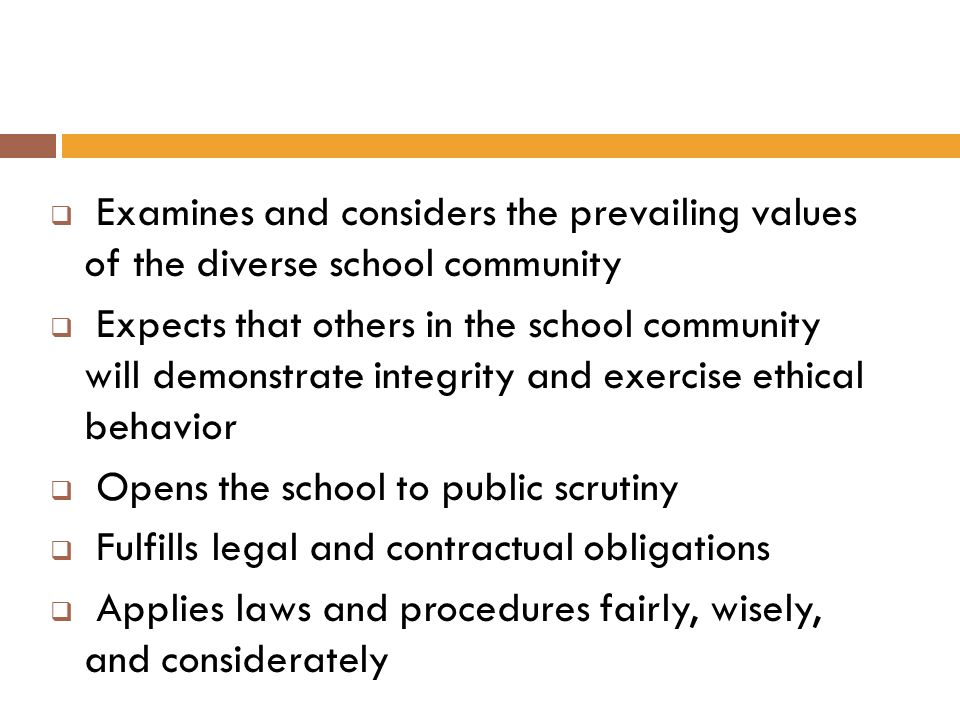 Examines and considers the prevailing values of the diverse school community Expects that others in the school community will demonstrate integrity an